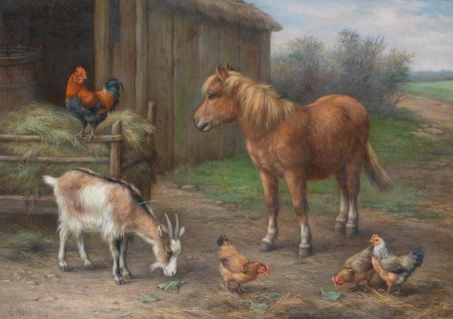 Edgar Hunt (British, 1876-1955) In a farmyard