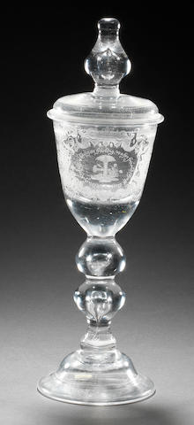 A Lauenstein engraved Friendship goblet and cover, circa 1730-40