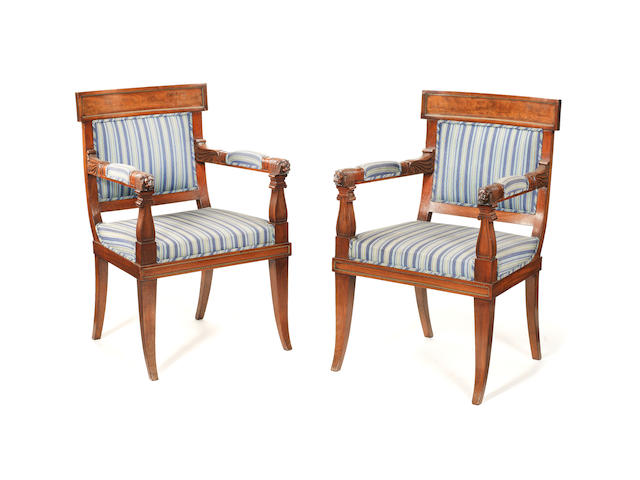 A pair of 19th century mahogany baltic armchairs