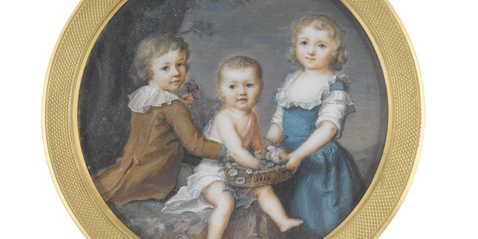 Mme Jeanne Doucet de Surigny (née Glaesner) (French, active 1791-1806) A rare miniature by the artist, possibly portraying the three children of Lord Robert Seymour (1748-1831) in a rocky landscape: the boy, seated, holding two flowers in his left hand, his right arm around his younger sibling, wearing buff breeches, brown frock coat and white chemise with frilled collar; the youngest child, seated and wearing white chemise, handling flowers gathered by the eldest sibling, a girl, wearing teal blue dress and white chemise with frilled trim
