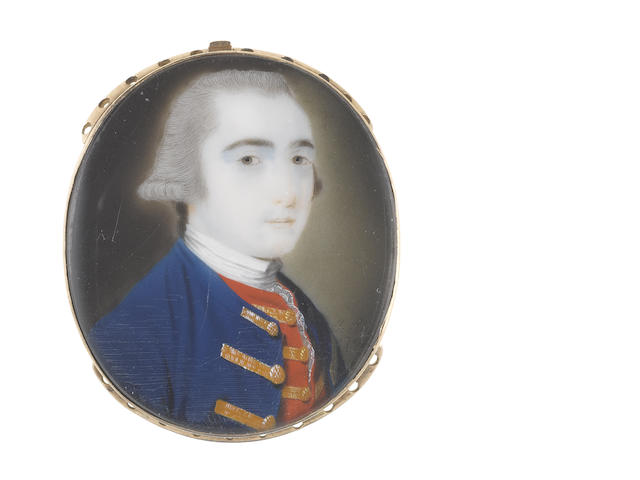 John Smart (British, 1742-1811) An Officer, wearing blue coat with gold buttons and button holes, scarlet waistcoat with gold buttons and button holes, white chemise, stock and lace cravat, his powdered wig en queue