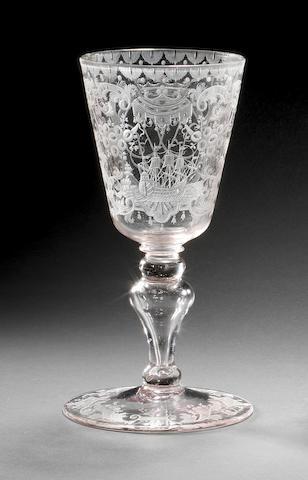 A finely engraved Saxon goblet, circa 1730