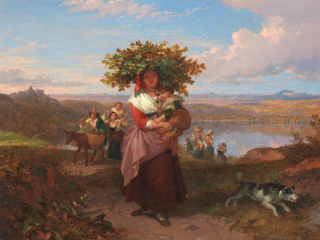 Penry Williams (British, 1798-1885) Italian peasants in a landscape near lake Nemi
