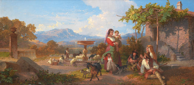 Penry Williams (British, 1798-1885) A peasant family by a fountain in an Italian landscape