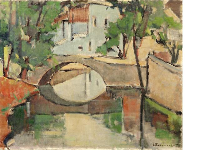 Yiannis Spyropoulos (Greek, 1912-1990) The bridge of Livadia 50 x 60 cm.