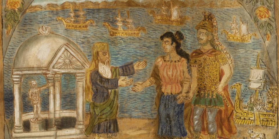 Theofilos Hadjimichail  (Greek, 1867-1934) Ulysses and Iphigenia in Avlida 78 x 88 cm.