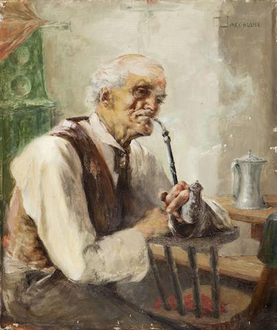 Georgios Jakobides (Greek, 1852-1932) Old man with pipe 31 x 26 cm.
