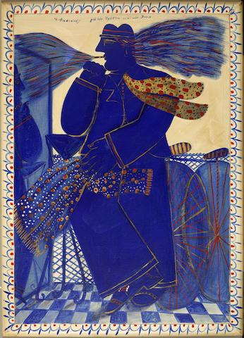 Alecos Fassianos (Greek, born 1935) Blue smoker with scarf 109 x 79 cm. (with frame painted by the artist), 100 x 70 cm. (without the frame)