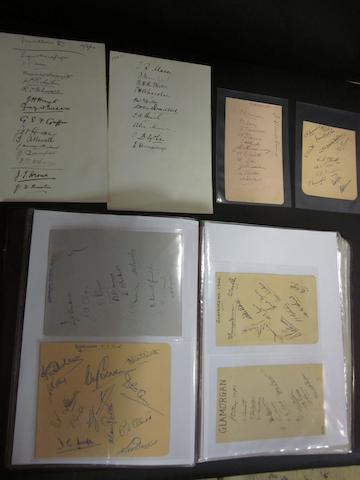 A collection of 1900 - 1950 County/University cricket teams autographs
