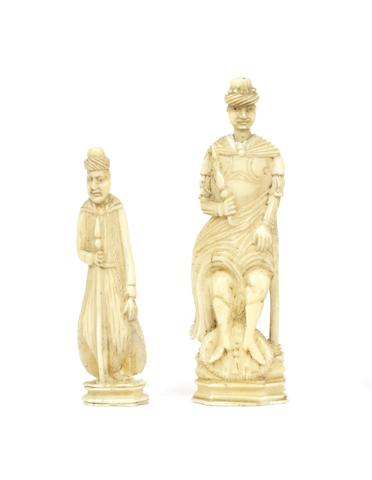A Russian Export walrus ivory king or queen, Kholmogory, 18th century,
