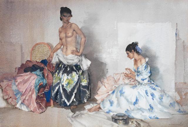 Sir William Russell Flint R.A., P.R.W.S. (British, 1880-1969) Studio Accessories 37.5 x 55 cm. (14 3/4 x 21 3/4 in.)