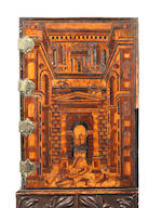 Augsburg Cabinet on later carved stand