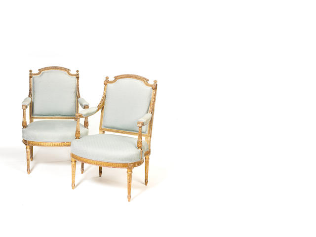 Pair of Louis XVI style gilt fauteuils labelled Annaly, there is an Annaly in Longford Ireland