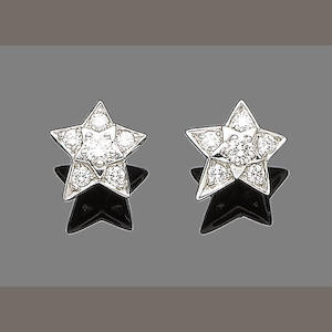 A pair of diamond star earstuds, by Chanel