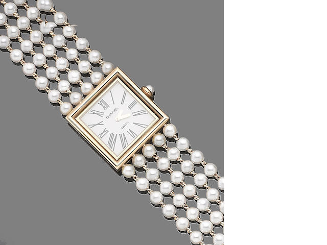A cultured pearl bracelet watch, by Chanel,
