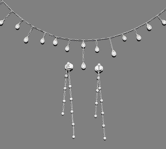 A diamond fringe necklace and pair of earrings, by Dior (2)