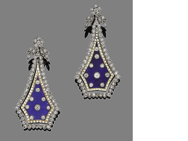 A pair of enamel and diamond pendent earrings,