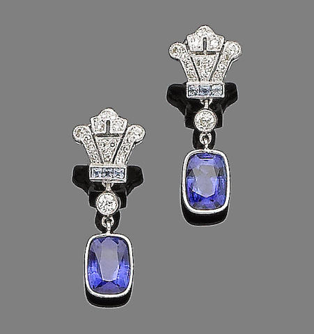 An early 20th century pair of sapphire and diamond pendent earrings