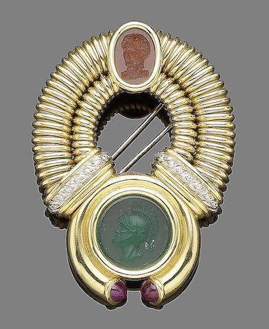 A paste and gem-set brooch