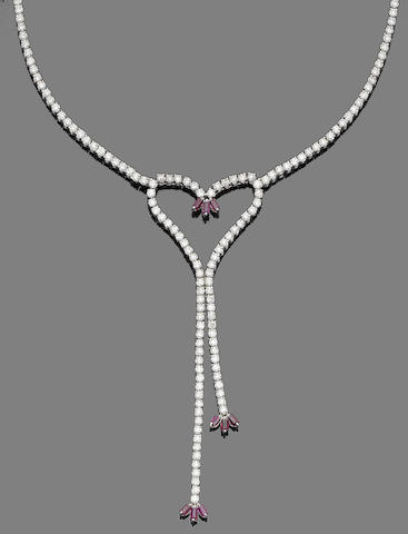 A diamond and synthetic ruby necklace