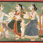 An illustration to a romance: the birth of Krishna Kulu, circa 1700-1720