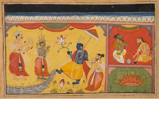 Devotees before Krishna (?) Popular or sub-Imperial Mughal, 17th Century