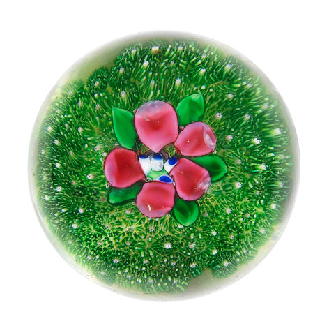 A rare Clichy moss-ground flower paperweight, mid 19th century