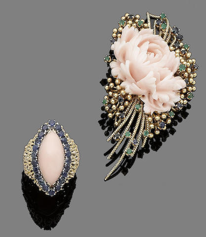A coral and sapphire ring and a coral, emerald and sapphire brooch (2)