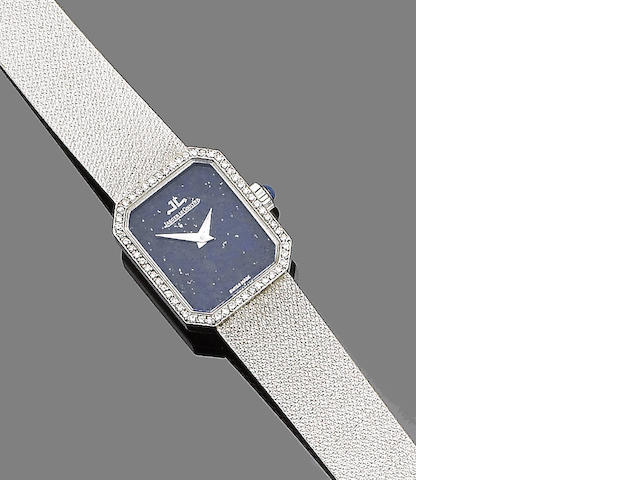 A lapis lazuli and diamond-set wristwatch, by Jaeger LeCoultre