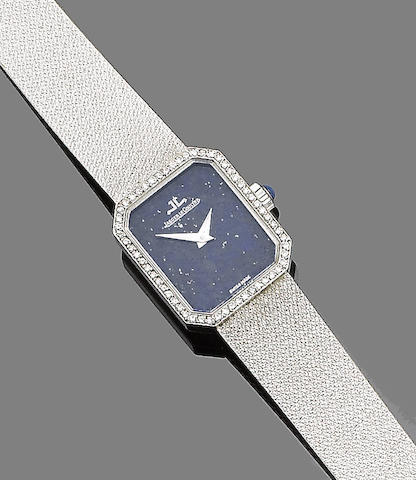 A lapis lazuli and diamond-set wristwatch, by Jaeger LeCoultre