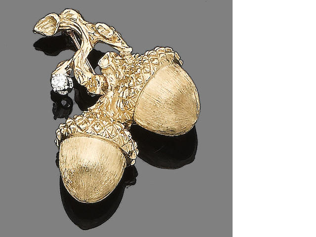 A diamond-set acorn brooch, by Cartier,