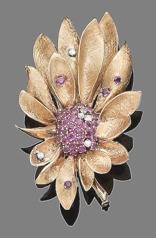 A ruby and diamond flower brooch