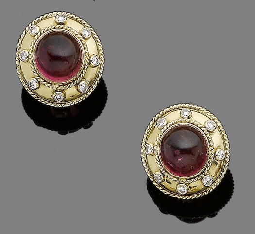A pair of tourmaline and diamond earclips, by Theo Fennell,