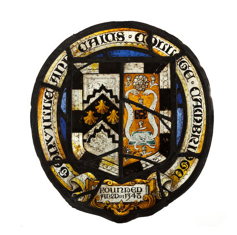 Univeristy of Cambridge interest: A stained glass and leaded panel for Gonville & Caius CollegeProbably mid-19th century