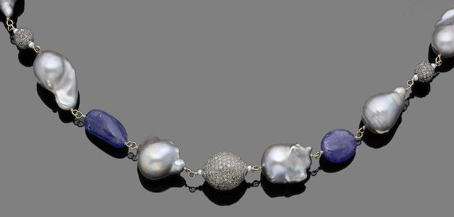 A cultured pearl, tanzanite, and diamond necklace