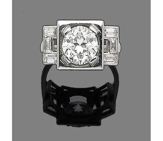 An art deco diamond ring,