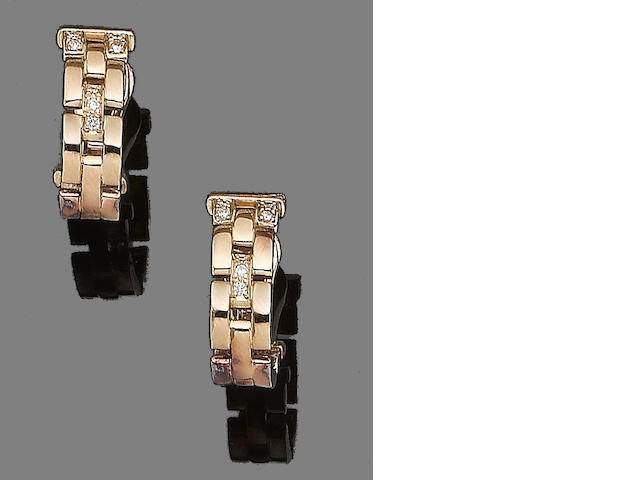 A pair of diamond-set fancy-link 'Panthère' earclips, by Cartier