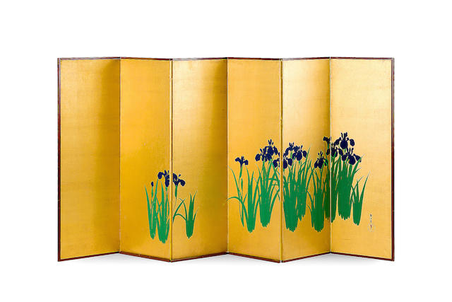 A fine pair of Japanese six-fold Rimpa style screens Late Meiji Period