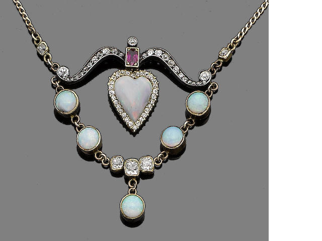 An opal, ruby and diamond necklace