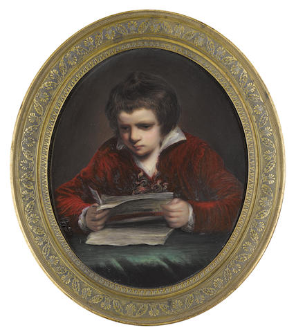 Henry Bone, R.A. (British, 1755-1834) The artist's son, Peter Joseph Bone (1785-1814), seated at a table and reading, wearing red coat and waistcoat, white chemise