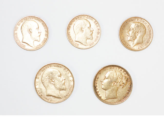 A collection of sovereigns  (5)