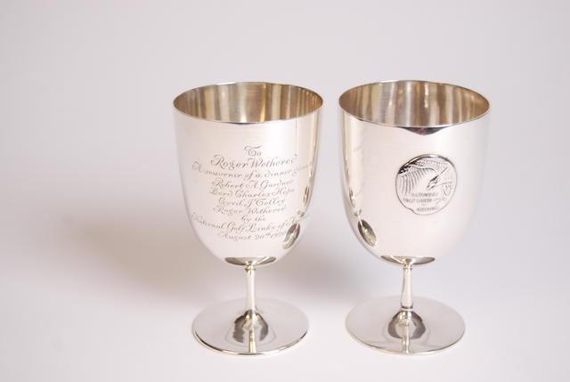Tiffany & Co: a pair of Sterling silver National Golf Links of America goblets