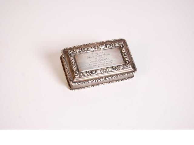 A William IV silver snuff box of rectangular form