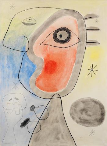 Joan Miró (1893-1983) Femme et oiseau devant le soleil Executed on 10 December 1942