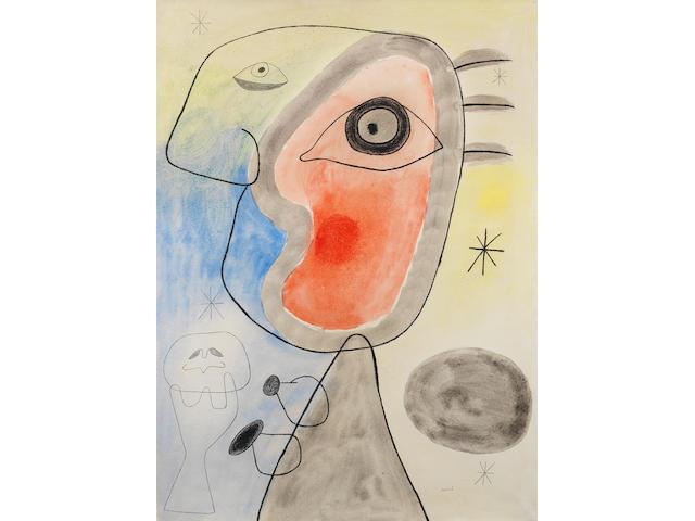 Joan Miró (1893-1983) Femme et oiseau devant le soleil 24 3/8 x 18 ½ inches Executed in 1942