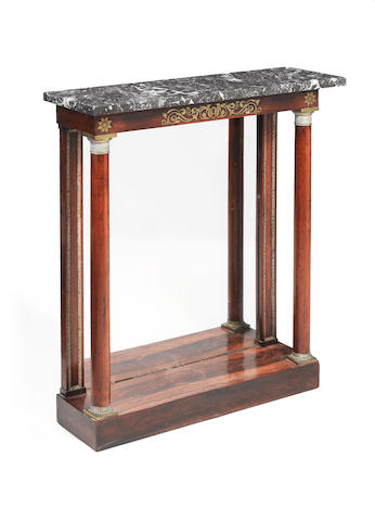 A George IV brass mounted and inlaid rosewood pier table