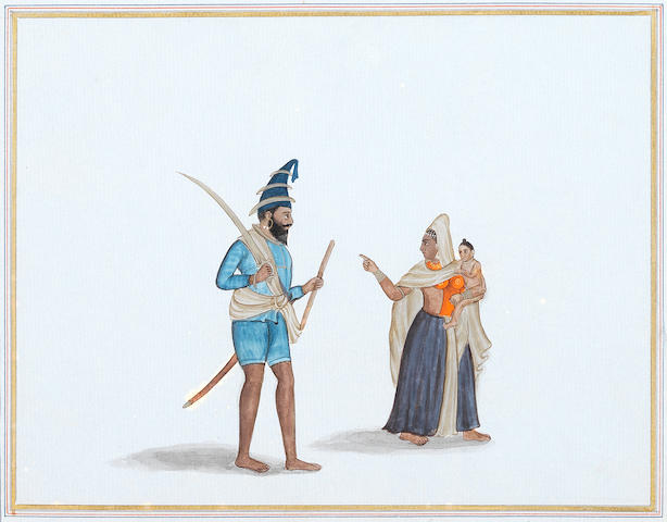 A Sikh Akali and his wife and child; a Sikh nobleman Punjab, circa 1840-50(2)