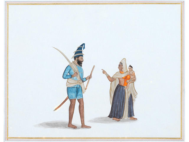 A Sikh Akali and his wife and child; a Sikh nobleman, probably Chattar Singh Atariwala Punjab, circa 1840-50(2)