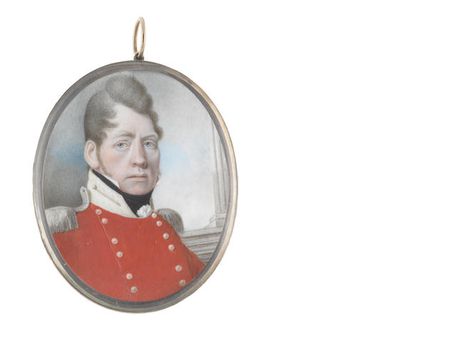 Alexander Gallaway (Scottish, active circa 1794-1812) An Officer, wearing red double-breasted coat with silver buttons and epaulettes, cream standing collar, white frilled chemise and black stock