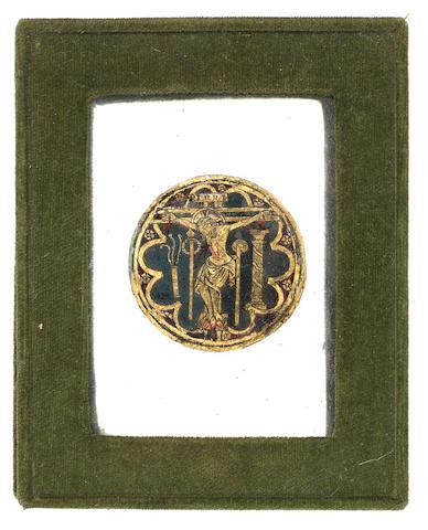 An interesting verre eglomisé plaque, 17th century